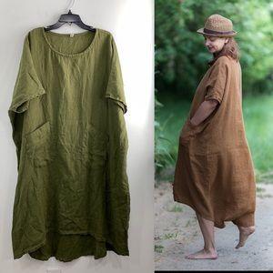 Knock Knock Linen Moss Green Painter Dress Large